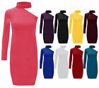 New Ladies One Shoulder Turtle Neck Plain Midi Bodycon Womens Party Dress 8-12