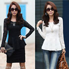New Women Long Sleeve Lace T-shirt Shirt Crew Neck Blouse Peplum Top White Black