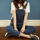 Girls Denim Overall Suspender Jean Women Trousers Pants Ripped Jumpsuit Blue