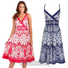 Ladies Paisley Floral Print Cross Over Cotton Summer Beach Sun Dress Size 8 - 22
