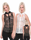 WOMENS SLEEVELESS CASUAL PARTY TOP BLOUSE BUTTON DOWN SHIRT S-L