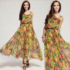 WOMENS VINTAGE CHIFFON FLORAL SLEEVELESS LONG MAXI EVENING COCKTAIL PARTY DRESS