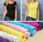 New Women Floral Lace Sexy Top Short Sleeve Blouse Crew Neck T-shirt Fashion