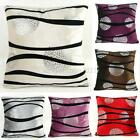 "Flocking Stripes Silver Pattern Decor Square Pillow Case Cushion Cover 22"" x 22"""