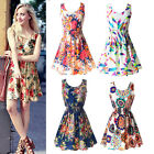 Summer Women Sexy Chiffon Sleeveless Sundress Beach Floral Mini Dress Short New
