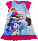 Girl's Official FROZEN Anna Elsa & Olaf  Frill Nightdress Nightie 2-8 Years NEW
