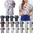 Womens Summer Casual Short Sleeve Chiffon Print Printed Top Tops T-shirt Blouse