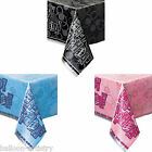 "54""x84"" Happy Birthday Pink Blue Black Glitz Plastic Table Cover Party Supplies"