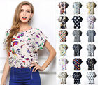 New Women Summer Casual Chiffon Floral Print Short Sleeve Shirt Blouse Tank Top