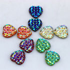 50PCS 14mm Crystal AB Color Resin Rhinestones Heart flatback Beads ZZ192