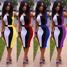 Sexy Women's Patchwork Dress Contrast Color Block Sleeveless Bodycon Club Dress