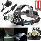 6000LM 3x CREE XM-L2 T6 LED Headlamp Headlight Torch Head 18650 AC/DC Chargers