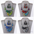 Vintage Charm Crystal Glitter Choker Chunky Statement Bib Necklace earrings set