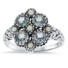 SIM AQUAMARINE PEARL ANTIQUE NOUVEAU STYLE .925 STERLING SILVER RING,      #63