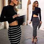 Sexy Women Stripe 2-piece Set Crop Tops Clubwear Outfit Bodycon Dress Maxi Skirt