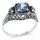 SIM AQUAMARINE ANTIQUE ART DECO STYLE .925 STERLING SILVER RING,            #131