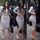 Women's Bodycon Long Sleeve High Waist Cropped Outfit Two Piece Skirt Dress LG