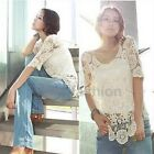 10 Colors Womens Boho Hollow Crochet Lace Floral Top Semi Sheer Blouse Tee Shirt