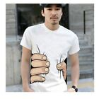 Mens O-Neck 3D Catch Big Hand Printed Crew Neck Short Sleeve T-shirt Top Blouse