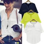 Womens V-Neck Batwing Short Sleeve Oversize Loose Casual Tee Shirt Tops Blouse