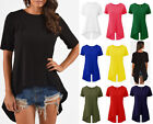 Womens Split Back HighLow Flare Top Ladies Short Sleeve Keyhole Swing Jersey Top