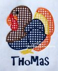 Embroidered Thanksgiving Turkey Personalized Shirt Long Sleeve Gingham Holiday