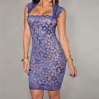 Elegant sexy purple floral flower lace bodycon square neck bandage party dress