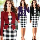 Women Classic Tartan Tunic Business Party Cocktail Bodycon Pencil Dress Gift KZ