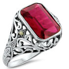 5 CT. RED LAB RUBY ANTIQUE VICTORIAN DESIGN .925 STERLING SILVER RING,      #297