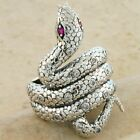 GENUINE RUBY ANTIQUE VICTORIAN DESIGN .925 STERLING SILVER SNAKE RING,      #221