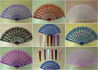 Free Shipping Chinese Style Lace Embroidered Fabric Print Folding Hand Held Fan