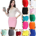 Sexy Women's Stretch Mini Skirt Elegant Short Pencil Slim Pleated Bodycon Dress