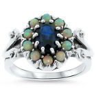 BLUE LAB SAPPHIRE & OPAL ANTIQUE DESIGN .925 STERLING SILVER RING,          #311