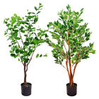 ARTIFICIAL SMALL POTTED TREES - GREEN FOLIAGE HOME / OFFICE DECORATION