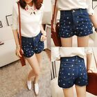 Retro Casual Ancient Summer Five-pointed Stars Denim Pants Shorts Trousers New