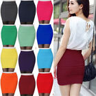 Top Quality Women's Stretch Mini Skirt Pleated Bodycon Mini Dress Polyester