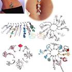 Eye-catching Crystal Retro Punk Navel Belly Button Barbell Ring Body Piercing