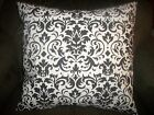 "Black White Damask Throw pillow slip cover sham 14"", 16"" and 18"" sizes available"