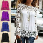 Women Sheer Sleeve Embroidery Top Blouse Lace Crochet Chiffon Shirt Floral Plus
