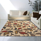 Transitional Ivory Floral Vine Area Rug Casual Petals Multi-Color Leaves Nature
