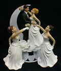 Mustache Groom, YOU PICK!  Blond, Brunette or Red Hair Bride Wedding Cake topper