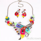Fashion Colorful Butterfly Charm Chunky Crystal Bib Statement Necklace Pendant