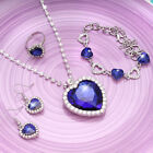 Ladies Titanic Blue Heart Of Ocean Necklace Earrings Ring Bracelet Set For Women