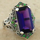 PURPLE LAB AMETHYST & OPAL ANTIQUE VICTORIAN STYLE.925 STERLING SILVER RING,#463