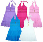 Girls Crochet Lace Trim Halter Neck Cotton Summer Dress 2 to 12 Years NEW