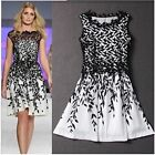 Womens Fashion Lace Embroidery Salix Leaf Print Sleeveless Short Mini Dresses S