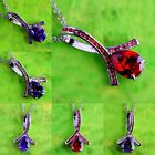 Amethyst & Rainbow Topaz & Morganite & Ruby Spinel Gems Silver Pendant Necklace