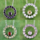 Amethyst & Morganite & Garnet Pink Topaz Gemstone Silver Chain Necklace Pendant