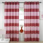 SANTANA EYELET LINED VOILE CURTAINS STRIPED PINK