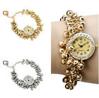 Lady's Beautiful Bracelet Cluster Beads Chain Crystal Wrist Watches Fashion Gift